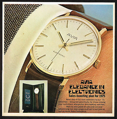 1970's Vintage 1975 Avia Watch Co. - Paper Print AD
