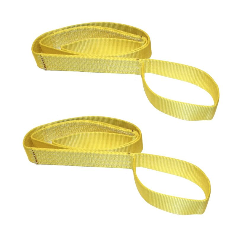 """Two (2x) 1"""" x 8 ft Nylon POLYESTER Web Lifting Sling Tow Strap 1 Ply EE1-901"""
