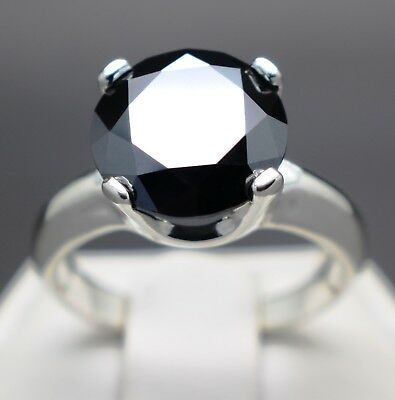 3.22cts 10.01mm Real Natural Black Diamond Engagement Size 7 Ring $1810 Value...