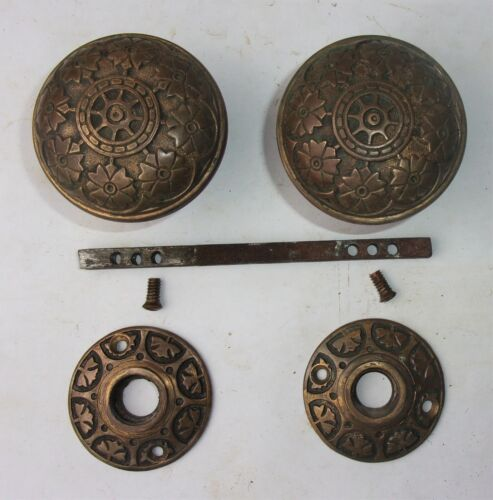 Antique Vintage Eastlake Victorian Ornate Door Knobs Escutcheon Rosettes Plates