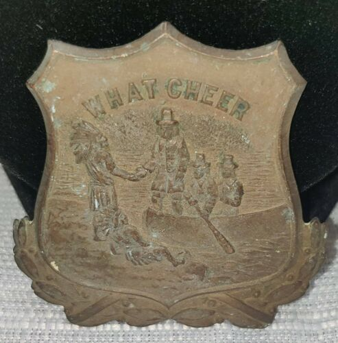 Vintage RI Providence WHAT CHEER Hat Badge