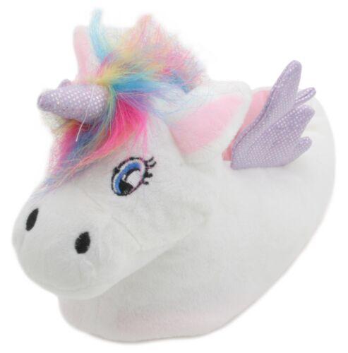 Slumberzzz Ladies Rainbow Hair 3D Plush Unicorn Slippers White