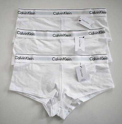 $66 SET of 3 CALVIN KLEIN White Cotton Blend BOYSHORTS Underwear Panties M