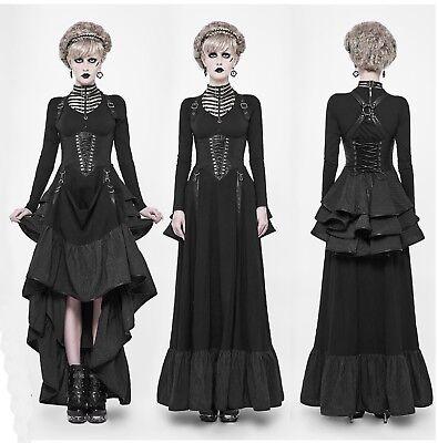 Punk Rave Gothic Nugoth Lolita Kleid Dress Steampunk Schnürung Raffung (Rave Dress)