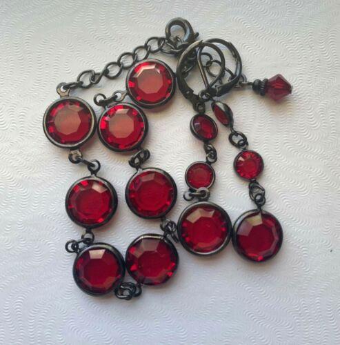 Garnet red bezel set crystal glass disc bracelet and dangle earrings