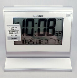 Seiko LCD Desk Alarm Clock QHL047SL - Metallic Grey - New
