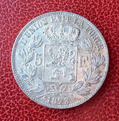 Belgique - Léopold II -  Près de Superbe 5 Francs 1873  - Variété DOUBLE  3