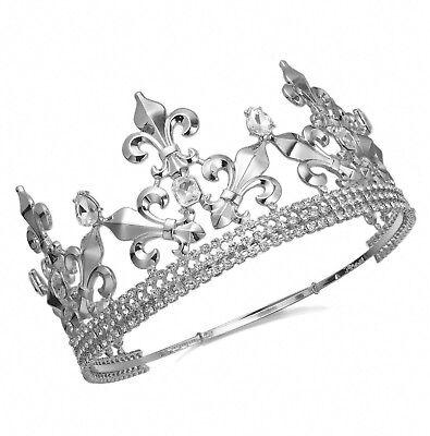 Full King Metal Crown Austrian Rhinestone Imperial Medieval Fleur De Lis T55S (Metal King Crown)