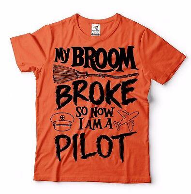 Pilot T-shirt Funny Pilot Tee Shirt Halloween Costume Broom plate tee shirt](Funny Halloween Costumes Original)