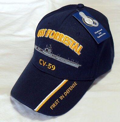 USS FORRESTAL CV-59 US NAVY SHIP HAT OFFICIALLY LICENSED BALL CAP  - Navy Ships Ball Caps