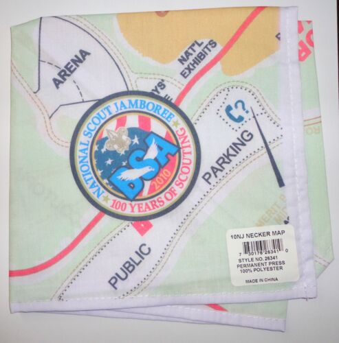 2010 National Scout Jamboree Neckerchief Map - BSA Centennial 100th Anniversary