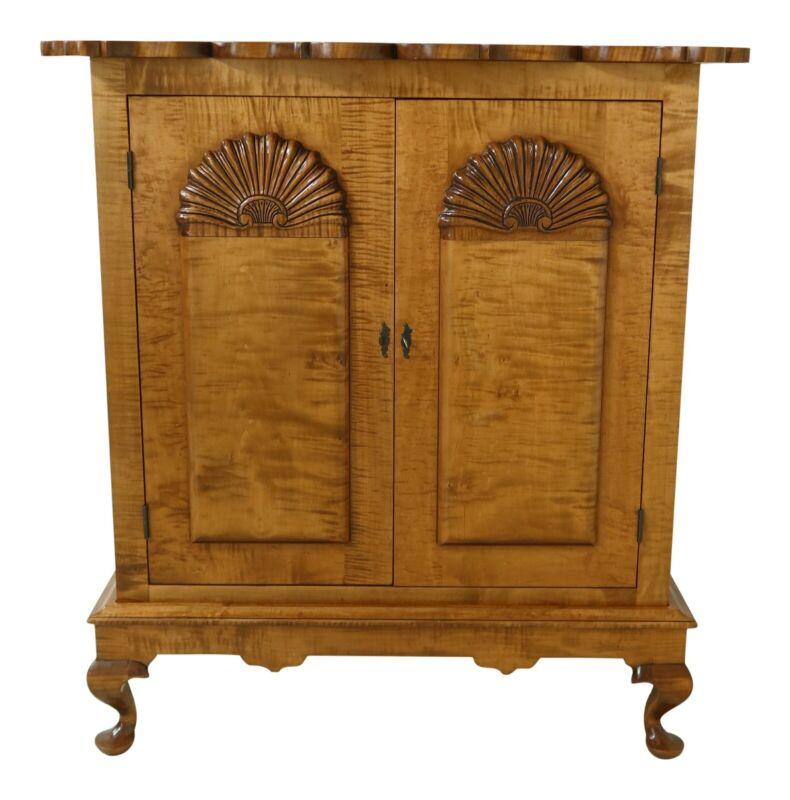 49969EC: Benchmade Tiger Maple Chippendale 2 Door Cabinet