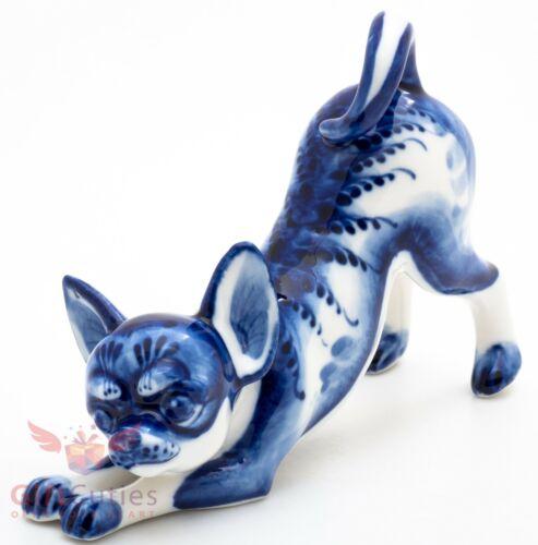 Gzhel Porcelain Chihuahua dog Figurine handmade
