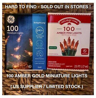 100 Amber / Gold Yellow Mini Holiday Bulbs Lights Wedding Christmas Time Fall covid 19 (100 Amber Mini coronavirus)
