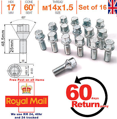 5 X M14X1.5 TAPERED ALLOY WHEEL BOLTS 25MM FIT FOR MG ZT ZT-T ROVER 75