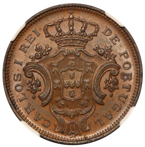 1901 Azores 10 Reis Copper Coin - NGC AU 58 BN - KM# 17