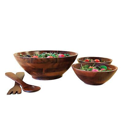 Handmade Cherry 5 Piece Wood Salad Bowl Set