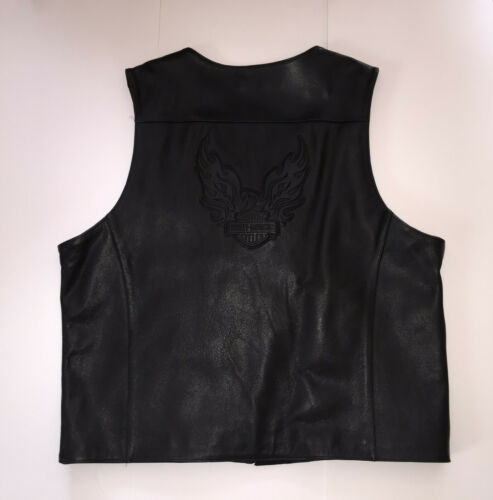 Mens 2XL HARLEY-DAVIDSON Motorcycles Black Leather Vest Embossed Excellent