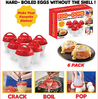 6 X Hard Boiled Eggs Without the Shell - Egg Boiler No Shell - Easy Cook Eggs