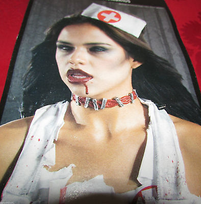 Zombie Makeup Look (Zombie Bloody STAPLES Choker and 2 Armbands Costume Makeup Complete Your)