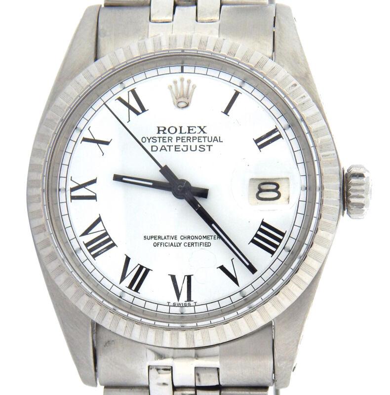 Rolex Datejust Mens Steel Watch Jubilee Band White & Black Roman Dial 1603