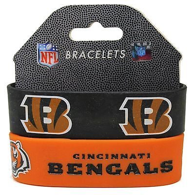 New Cincinnati Bengals Football Team Rubber Wrist Band Bracelet Set Of -