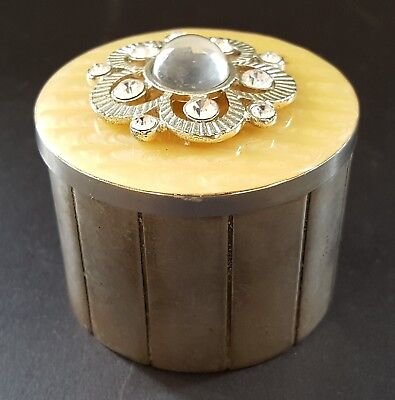 Silver plate & cream coloured enamel vintage Art Deco antique round trinket box
