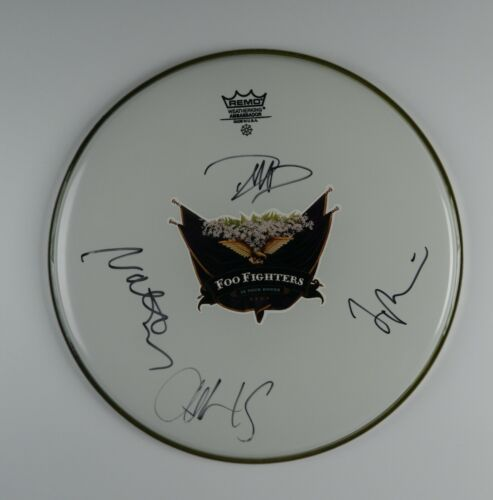 """Foo Fighters Fully Signed Autograph 14"""" Drum Head JSA Epperson Dave Grohl +"""