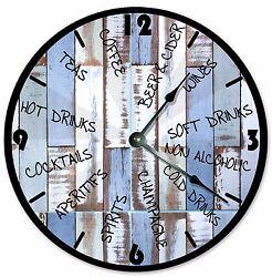 DRINKS BEACH WOOD Clock - Large 10.5 Wall Clock - 2054