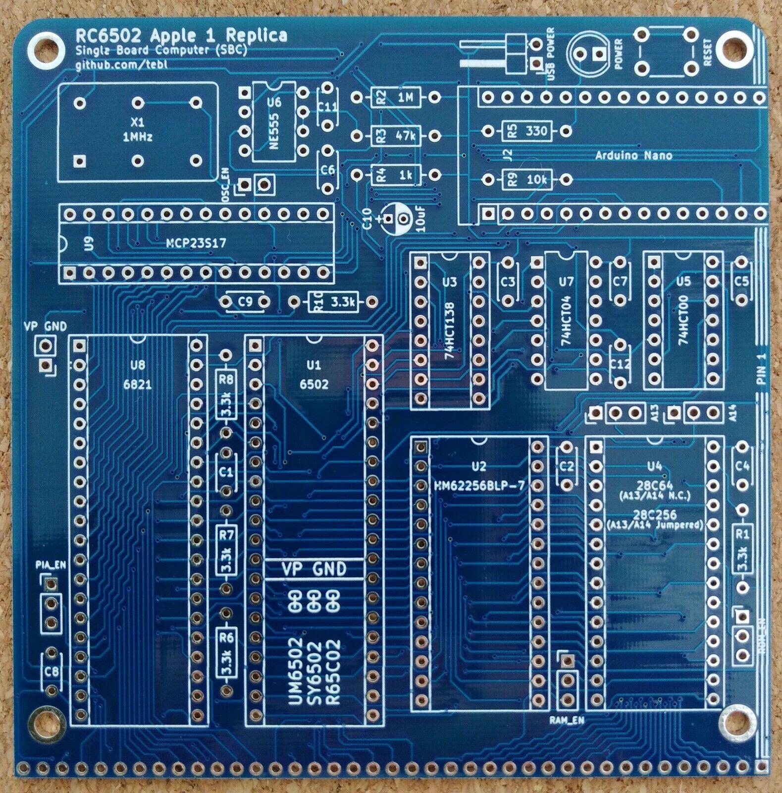 |RC6502 Rev H Apple 1 Replica PCB