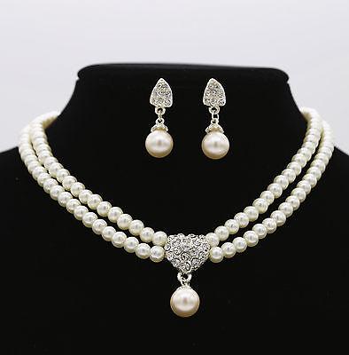 Women Party Prom Pearl Crystal Rhinestone Diamond Necklace Earrings Set Jewelry