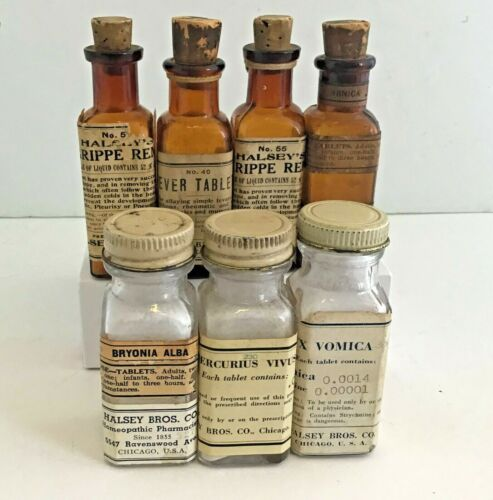 Vintage Apothecary Pharmacy Halsey Bros Chicago Homeopathic Medicines 1855-1930
