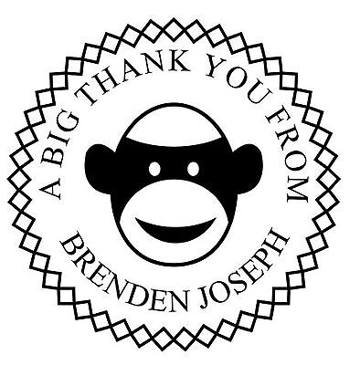 Monkey Round Unmounted Custom Text Stamp For Self Inking Rubber Stamps 1 58dia