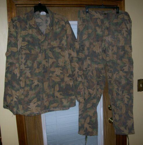 Vintage Kelly Cooper Inc. Tru-Leaf Camo Coat & Pants Hunting Set Mens Large Long