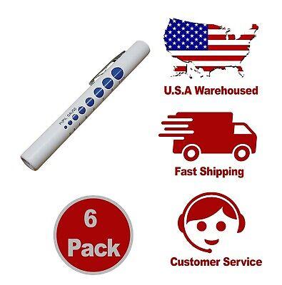 6 Pack - Led Penlight Pen Light Nurse Nursing Medical Pupil Gauge Led Us Seller
