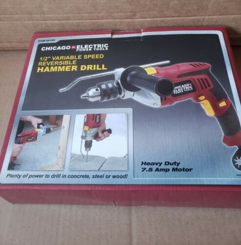 Chicago Electric Power Tools 1/2 in. Reversible Hammer Drill