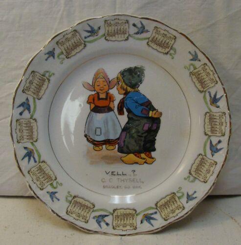 Vintage 1916 Calendar Plate, Dutch Theme, Bradley, South Dakota, CG Thysell