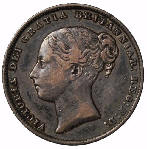 1865 Great Britain Silver One Shilling Queen Victoria Coin Die Number KM#734.3
