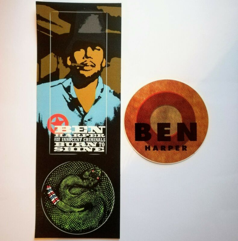 Ben Harper Burn To Shine 1999 Promo Stickers Original Vintage Rock Decal