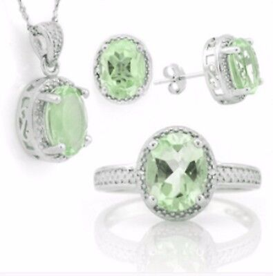 GREEN AMETHYST & DIAMOND NECKLACE EARRINGS AND RING SET 6.43 CWT BRAZILLIAN REAL ()