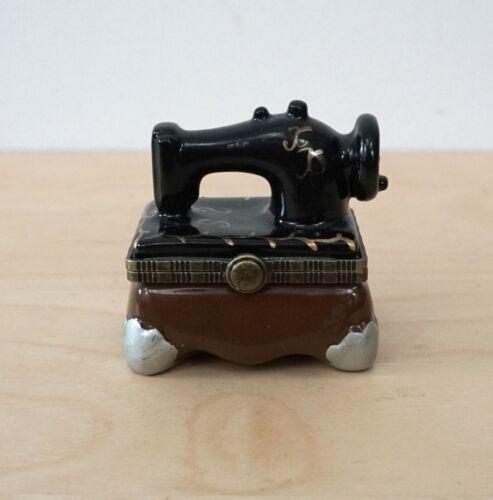 Vintage Small Ceramic Sewing Machine Trinket Jewelry Box