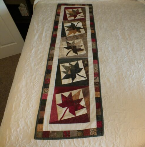 """Handmade Quilted Fall Leaf Table Runner 59 ½"""" X 17 ½"""""""