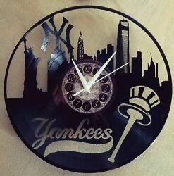 Yankees lase made vinyl record laser cut modern wall clock fun gift