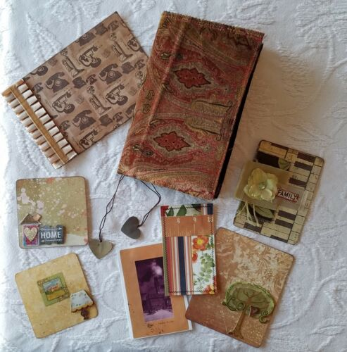 Handmade Vintage Red Brown Paisley Fabric Soft Cover Junk Journal