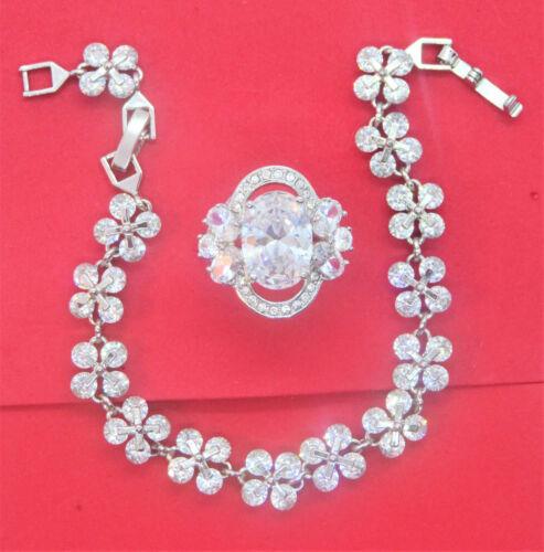 cubic zirconia flower ring & bracelet set 925 sterling silver sz 7 {50% OFF}