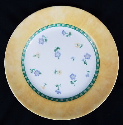 Corelle CLASSICAL GARDEN Luncheon Plate Green Stripes Yellow & Lavender Flowers