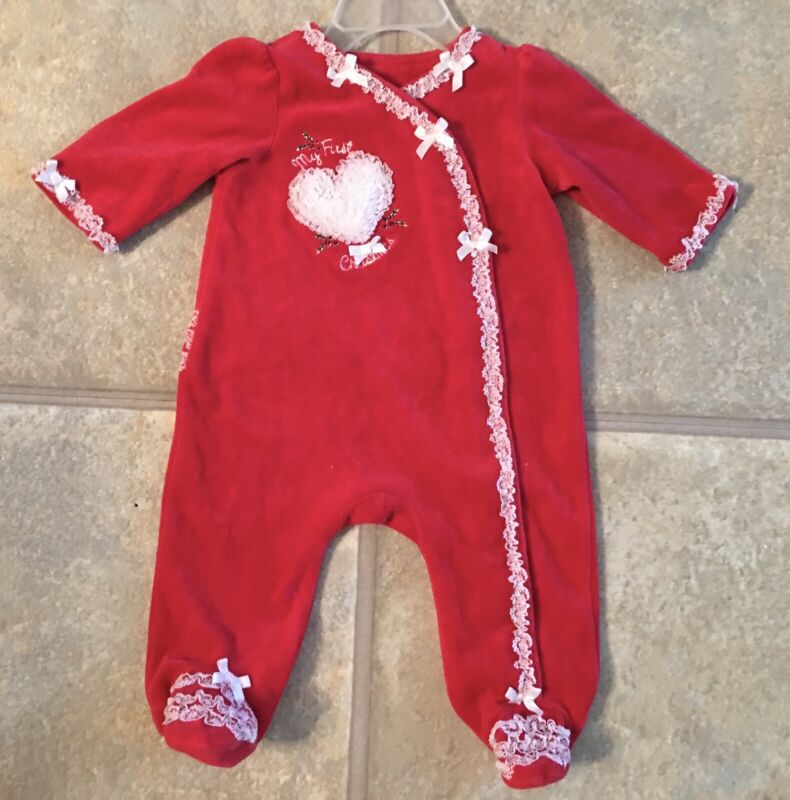 """Little Me Girl's Size 3 Months Red Velour Sleeper """"My 1st Christmas"""""""