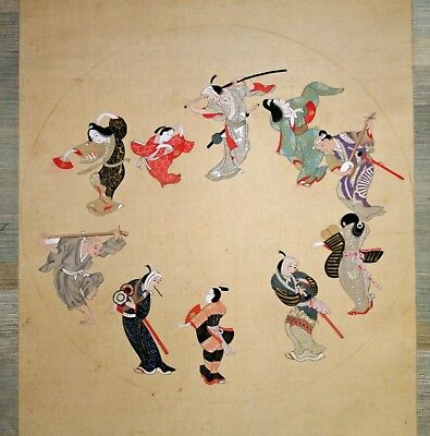 Japanese scroll painting of Samurai, priests and women dancing Bon Odori