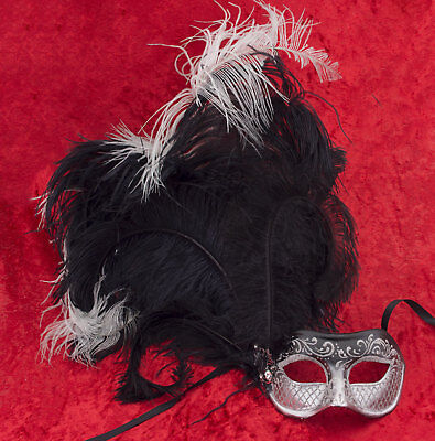 Mask from Venice Colombine Feathers Ostrich Black Silver IN Paper Mache 22425