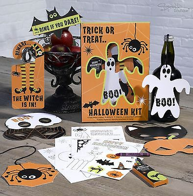 HALLOWEEN TRICK OR TREAT KIT with Masks -Childrens Party Fun- FULL RANGE IN SHOP - Halloween Mask Paper Plate